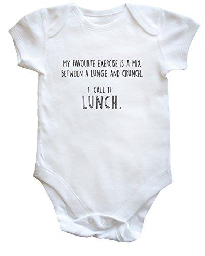 HippoWarehouse Favoritos Ejercicio es una Mezcla Entre un Caballo y Crunch I Call It Almuerzo Baby Body Chaleco (Manga Corta) Niños Niñas Blanco Blanco 24 Meses