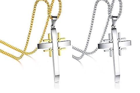 Vnox 2 pièces en acier inoxydable en acier inoxydable Jérusalem Crusaders Cross Christ Pendant Necklace,Free