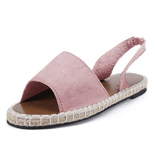 COZOCO Sommer Retro Gewebte Sandalen Am Strand Sandalen Damen Flache KnöChelriemen RöMische Hausschuhe Sandalen Damen Strandschuhe(Pink,35 EU)