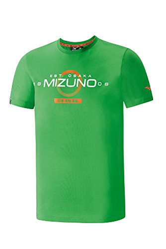 Mizuno Heritage Japan Tee Maglia a Maniche Corte Running Uomo, Verde, M
