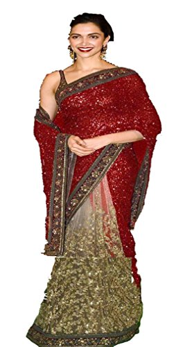 I-Brand Women's Georgette Saree (Isunsa2183-Ib_Red)