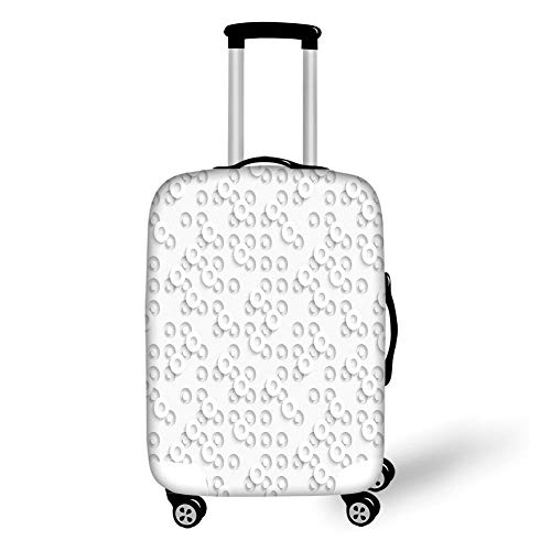 Travel Luggage Cover Suitcase Protector,Geometric Circle Decor,Dispersed Ring Motifs Structural Circuit Bands Western Art Layout Artwork,Grey,for Travel XL -