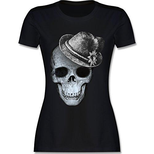 Oktoberfest Damen - Totenkopf mit Filzhut - XL - Schwarz - L191 - Tailliertes Tshirt für Damen und Frauen T-Shirt
