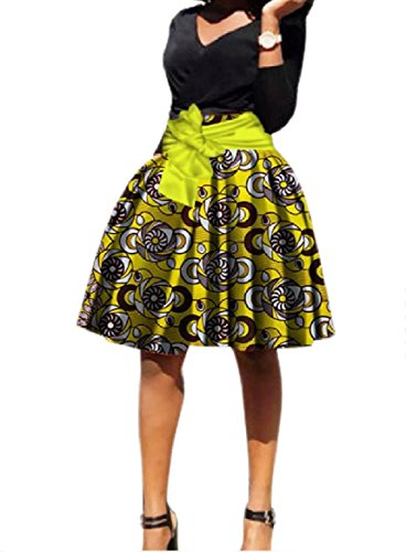 Tootlessly-Women Patterned Belted Exotic Dashiki Totem Vintage Flared A Line Swing Skirt Pattern11 5XL