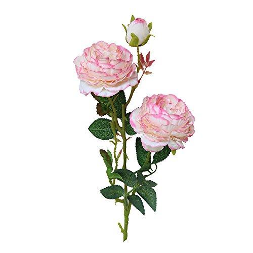 Lazzboy Künstliche Gefälschte Western Rose Blume Pfingstrose Brautstrauß Hochzeit Home Decor Seiden-Blumen Mit Stielen Und Blättern Rosen, Hochzeits-Dekoration, Sträuße(A)