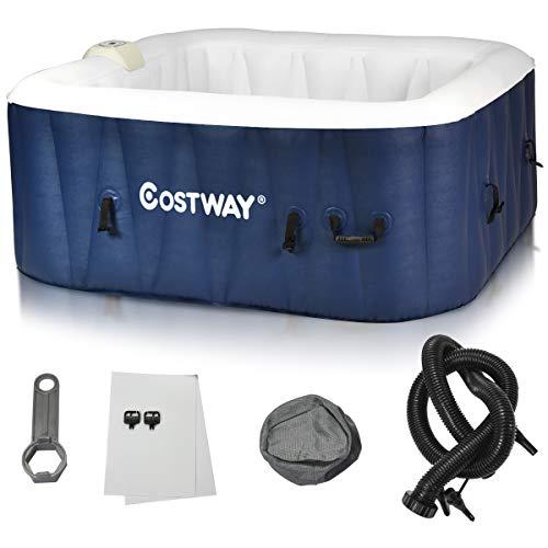 COSTWAY Whirlpool aufblasbar, Massage Spa Pool mit Heizfunktion,Outdoor Massagepool für 4~6 Personen (154 x 154 x 65 cm)
