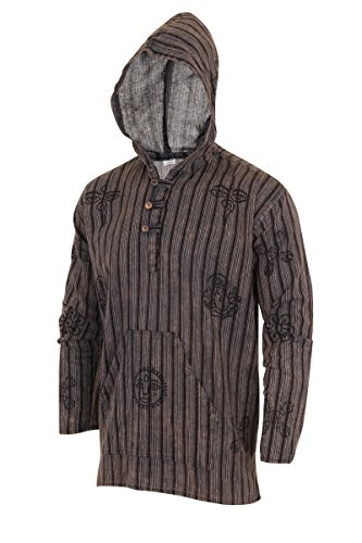 Grandad Shirt mit Kapuze Dunkelbraun