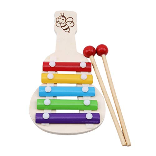 Pinhan Kind Baby Gitarre Form 5-Note Xylophon Musik Percussion Spielzeug Kinder Musikinstrument