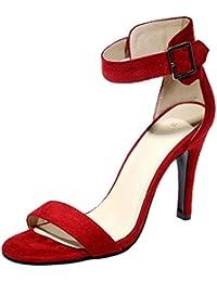 Peep Toe Stiletto Sandalias Mujer Correa de tobillo Handmade Vestir Sandalias de BIGTREE