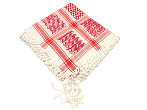 Baumwolle Unisex Red Schwarzer arabischer Schal-Verpackungs-Wüste Traditionelle Tactical Shemagh Fashion Schal Palästina Hatta (Rot) Fashion Unisex Schal