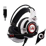 Givekoiu Headsets Kopfhörer-Adapter, NUBWO N7 Gaming Headset Stereo PC Gaming Headset mit Geräuschunterdrückung Headset weiß