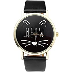 """JSDDE Reloj Pulsera de Cuarzo para Mujeres Diseño Mono del Gato """"MEOW"""", Analógico Estilo Simplista Elegante Clásico Retro, Banda de Cuero PU, Color Negro"""
