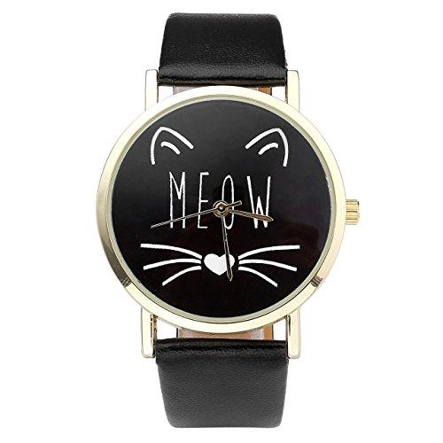 JSDDE Uhren,Vintage Damen Uhr Cute Katze 'MEOW' Design Armbanduhr Damenuhr Faux Leder Band Analog Quarzuhr,Schwarz