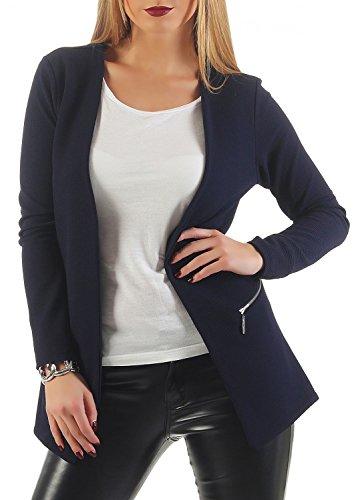 Damen lang Blazer mit Taschen ( 501 ), Farbe:Dunkelblau, Blazer 1:36 / S