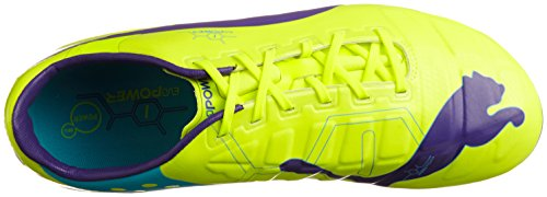 Puma Evopower 1 AG, Chaussures de football homme Orange - Orange (fluro yellow-prism violet-scuba blue 02)