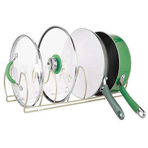 MetroDecor mDesign Geschirrständer für Kochtöpfe, Deckel und Pfannen – kompakter Pfannenhalter für den Küchenschrank – platzsparender Ständer für Kochgeschirr aus Metall – mattsilberfarben