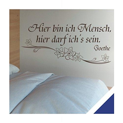 Exklusivpro Wandtattoo Wand-Spruch Hier bin ich Mensch. (Goethe) inkl. Rakel (zit36 königsblau) 150cm