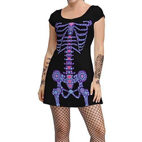 MasteriOne Halloween Damen Skelett Kostüm, schwarz Kostüm Halloween Knochenkleid Tod Zombie Horror Karneval Fasching (Bonnie Und Clyde Kostüm Für Paare)