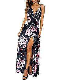 a08d45b12b9 Weant Femme Robe Chic Robe Femme Ete Robe de Plage Femme Robe Col V Floral  Imprimé