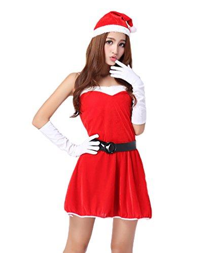 YOUJIA Damen Weihnachtsmann Kostüm Weihnachtsoutfit Miss Santa Minikleid für Weihnachtsfeier Maskenspiel Party (Weihnachtsmann Kostüm Damen)