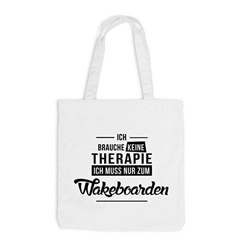 Jutebeutel - Ich Brauche Keine Therapie Wakeboarden Weiß