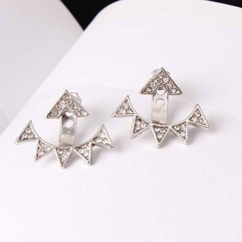 Thumby Geometrische Dreieck Nieten Mode Dame Persönlichkeit Siamese Kleine Spitze Dreieck Bohren Voll Ohrclip Schmuck, Silber- (Dreieck-spitze Nieten)