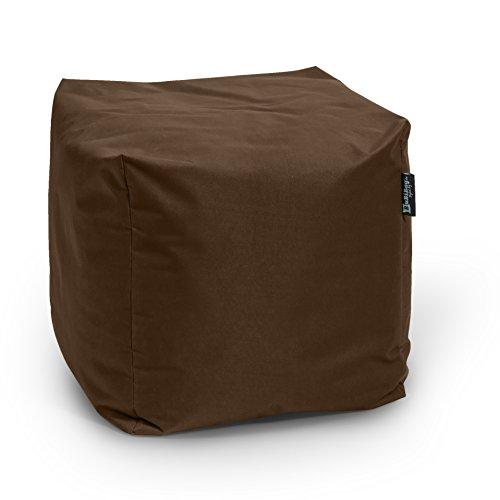 BuBiBag Sitzsack Würfel 45x45x45cm mit Füllung Cube Sitzwürfel Sitzkissen Bodenkissen Kissen Sessel BeanBag (braun)