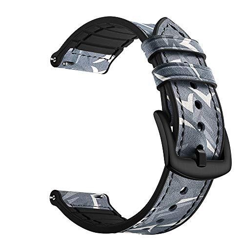 OWEM 20mm Uhrenarmband Kompatibel mit Allen 20mm Traditionellen oder Intelligenten Uhren. 20mm Silikon-Leder-Ersatzband mit Schnellverschluss,ThornBlack