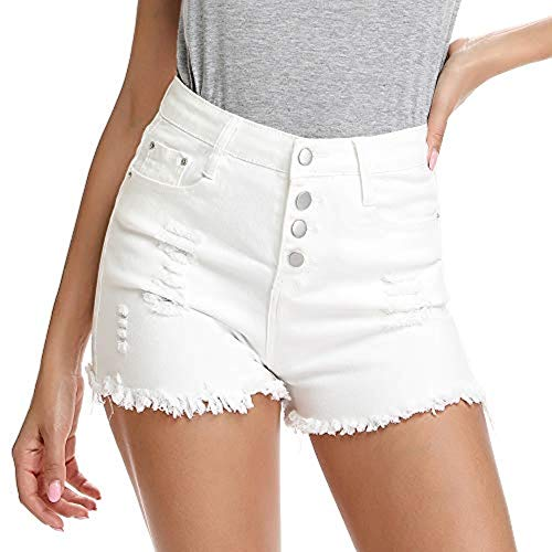 Kefirlily Damen Jeans Hose Kurze Denim High Waist Basic Bermuda-Shorts Mit Destroyed-Optik Skinny Fit, Weiß, Gr.- 36/ S