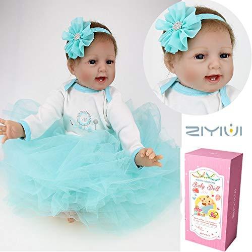 ZIYIUI 22 inch 55cm Réaliste Reborn Bébé Poupées en Silicone Vinyl Realistic Magnetic Mouth Newborn Baby Dolls Mignonne bébé Fille Jouets