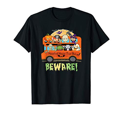 Halloween Scary Haunted House Tour Bus Full Moon Costumes T-Shirt