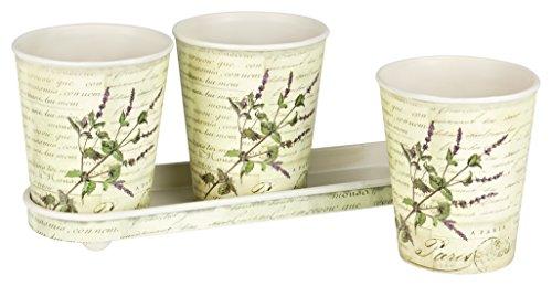 Lavendel Köln (Boltze Set 4 tlg. Pflanztopf Übertöpfe Blumentopf Lavendel Topf Deko Kräutertopf Pflanztöpfe shabby chic)
