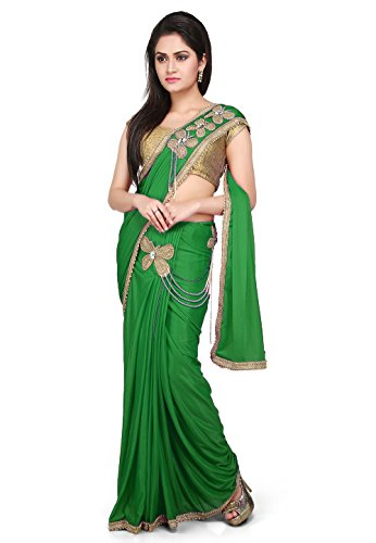 Aarti Saree Pre-Stitched Saree Lycra Saree in Green With Un-Stitched Running Blouse...