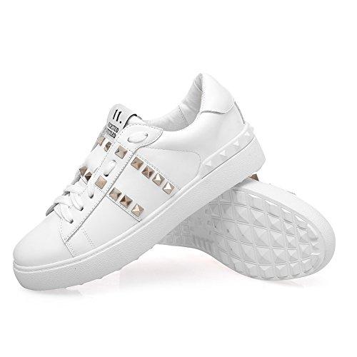 Shenn Donna Moda Sneaker Pizzo Rivetti Pelle Formatori Sneaker Scarpe Bianca
