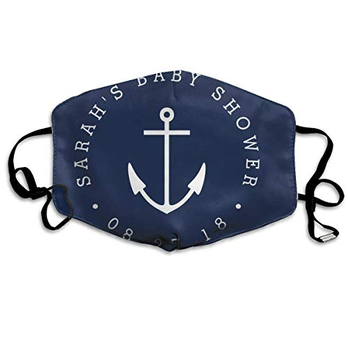 Daawqee Staubschutzmasken, Nautical Navy and White Anchor Baby Shower Classic Round Anti Dust Face Mouth Cover Mask Respirator Cotton Protective Breath Healthy Safety Warm Windproof Mask