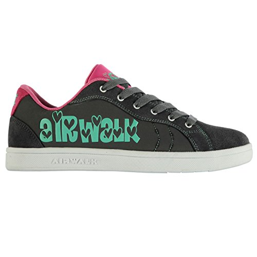 Airwalk Cutesey Femmes Skate Chaussures Baskets A Lacets Sneakers Sport Casual Grey/Mint/Pink