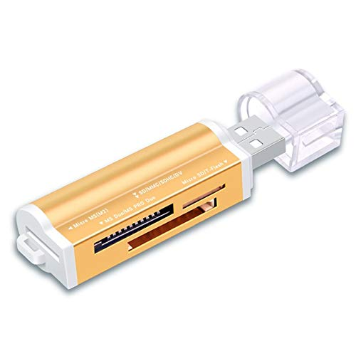 Wenquan,4 in1 USB 2.0-Kartenleser SD/Micro SD/TF/MS / M2(Color:GOLDEN) -