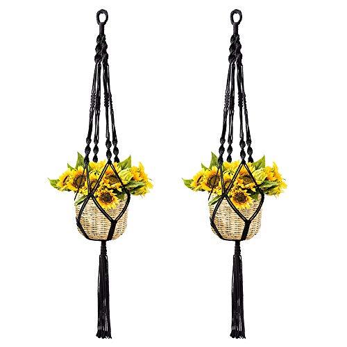 Koitoy Makramee Blumenampel Hängeampel für Innen Außen hängende Pflanzgefäße Pflanzenhänger Blumentopf Pflanzenhalter für Balkon Decke (Schwarz-2er) - Makramee-pot-kleiderbügel