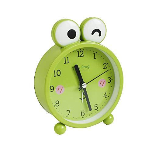 Emartbuy 3 Pulgadas Sin Tic TAC Mesilla de Noche/Mesa Reloj Despertador de Cuarzo, De Pilas Reloj de Viaje, Redondo y Despertador - Ranas Verdes Guiño de Ojos