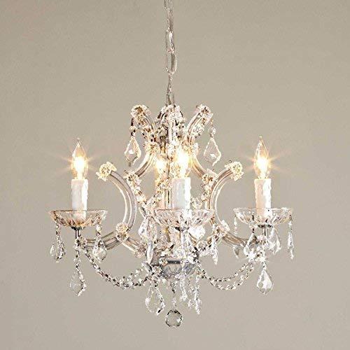 Saint Mossi® MARIA Kristall Glas Kronleuchter Klar 45cm mit 4 Armen - Königlicher Lüster mit Kristall Glas Feinschliff Prismen [Energieklasse A++]