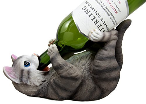 Ebros Gift Atlantic Collectibles Weinflaschenhalter, Katze, Motiv Katze, Britische Kurzhaarfrisur, Grau -