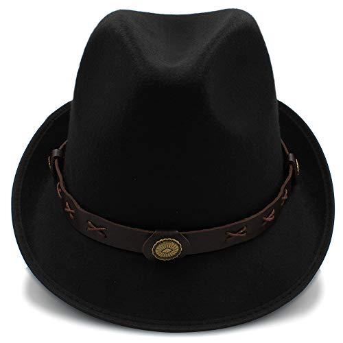 Wenquan-caps, 2018 Sombreros Sombrero de Fieltro, Invierno otoño Mujer Hombre Mujer Sombreros Sombrero de Jazz Hat Panama Bowler Hats (Color : Negro, tamaño : 56-58cm)