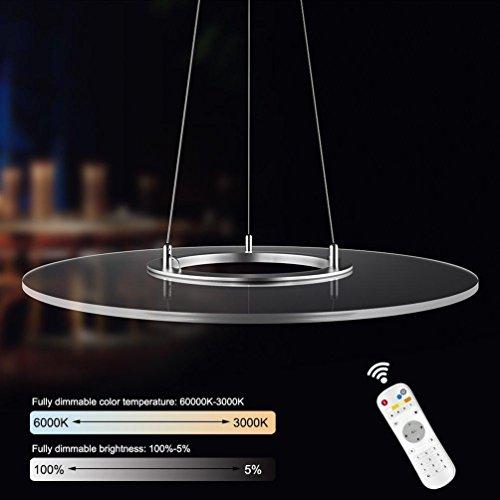 36 W moderne panneau LED à intensité variable Suspension innovantes Suspension rond panneau Lampe suspension en métal et acrylique Diamètre 60 cm Hauteur réglable Suspension Longueur maximum 150 cm Transparent Lustre