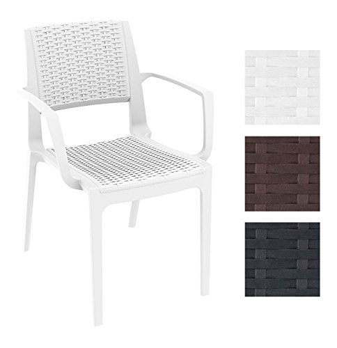 CLP XXL Polyrattan-Gartenstuhl Capri mit Armlehnen | Wetterfester Outdoor-Stuhl aus Kunststoff | in...
