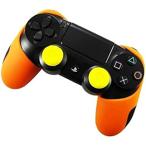 DOTBUY Flexible silicona protectora caso grueso mitad para Sony PS4 Game controlador x 1 + 1 Pairs of Replacement Joystick Thumbstick