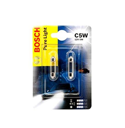 BOSCH C5W 5W 36mm Pure Light 1987301004 Doppelblister Glühlampen Autolampen 12V 2 Stück Kennzeichenlicht Innenbeleuchtung