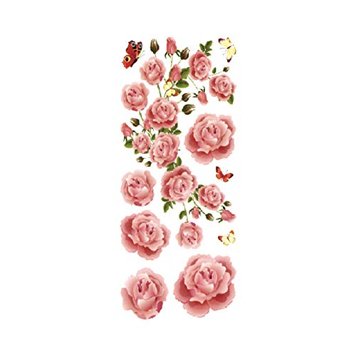 Martha Kostüm Kann - Blume Tattoo Sticker Damen Brust Bauch Kostüm Studio Rose Pfirsich Pfingstrose Tattoo Sticker 3Pcs-28 90 * 190MM
