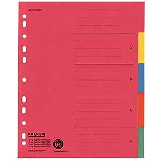 Original Falken Karton-Register überbreit. Made in Germany. Für DIN A4 24 x 29,7 cm volle Höhe mit Organisationsdruck 5-teilig vollfarbig zur Ablage von Prospekt- und Klarsichthüllen