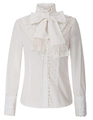 Ärmel Rüschen Bluse (Belle Poque Damen Stehkragen Lolita Langarm Rüschen Viktorianische Bluse Weiß Größe S)