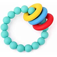 TEETHINGWORLD BPA-free Food-Grade Silicone Teething Rattle Bracelet (Turquoise)